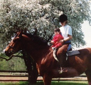 Jess at 17 months, on Lewis. She was on a horse before she could walk. May, 1993 at Timberlane