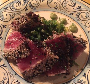 Eating out on the Whole30 was easy. Sesame crusted Ahi on a bed of seaweed, Yum!